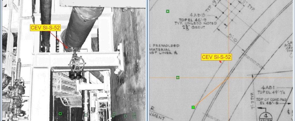 Identifikovaný azobrazený komponent vlaserovom skene (v ľavo) ana pôdorysnom výkrese (v pravo)