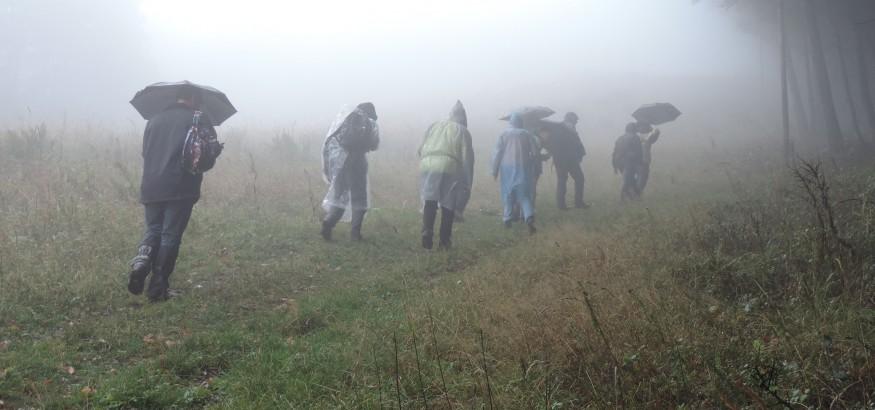 Cesta na vrchol pola pomerne jasná, aj keď v hustej hmle sme nemali žiadne výhľady do okolitých dolín. Dážď nám nedával priestor na prestávky a diskusie, takže sme postupovali veľmi rýchlo.